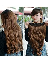 Nsstar Clip-On One Piece New Two Tone Long Curl/Curly/Wavy Synthetic Thick Hair Extensions Hairpieces - C2I_Inv_1142