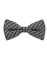 Scott Allan Men's 100% Silk Checkered Plaid Bow Tie - Burgundy/Black/Turquoise