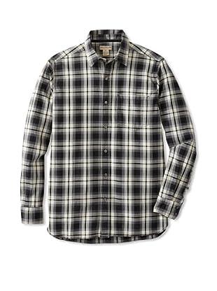 Natural Blue Men's Plaid Long Sleeve Shirt (Black/Cream)