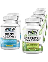 Wow Green Coffee Diet with Wow Body Cleanse Combo Booster (Pack of 6)