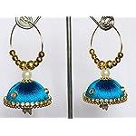 Silk Thread Jhumki Earrrings - Blue - 1 Pair