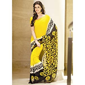 Yellow Faux Georgette Casual Printed Indian Saree
