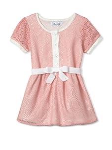 Journal Girl's Crochet Button-Up Dress (Cotton Candy)