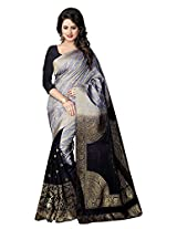 Prem Janki Fashion Women's Banarasi Silk And Jacquard Saree With Blouse Piece (Black)