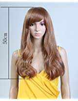 Cool2day Fashion Girls 50cm Long Wave Light Brown Heat Resistant Hair Party Wig Jf1126