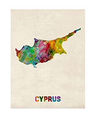 Trademark Fine Art Cyprus Watercolor Map by Michael Tompsett