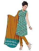Kala Sanskruti Women Cotton Satin Bandhani Sea-Green Dress Material