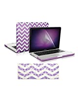 "TopCase 3 in 1 Bundle - Chevron Series Ultra Slim Light Weight Rubberized Hard Case Cover and Matching Color Chevron Zig-Zag Keyboard Cover Skin with LCD Screen Protector for Macbook Pro 13-inch 13"" (A1278/with or without Thu"