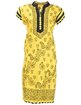 Chopra Enterprises Women's Cotton kurti (Ceckcrslvg, Yellow, 38)