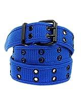 Double Hole Grommets Canvas Belt-B865-Blue-XL