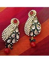 Earrings - Uncut zircon stones maroon green meenakari pearl polki India royal ADIVA copper earring ab68