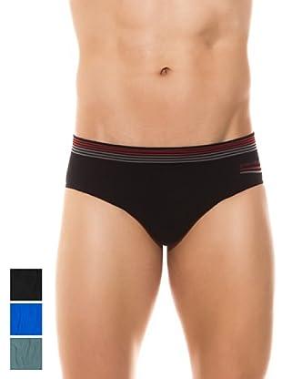 Pierre Cardin Pack x 3 Slips Algodón Sin Costuras (Negro / Azul)