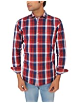 Red Flame Men's Red/blue Slim Fit Casual Shirt