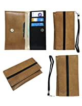Jo Jo A5 S Series Leather Wallet Universal Pouch Cover Case For Lenovo A7000 Tan Black