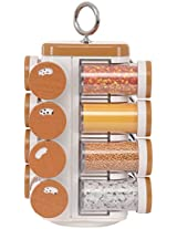 JVS Plastic Spice Rack, 16-Piece, 16 cm x 11 cm x 32 cm, Brown & White