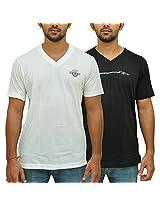 Duke Mens Poly Cotton V-Neck T-Shirt Black-White (X-Large), Pack of 2