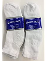 6 Pairs of Mens White Diabetic Ankle Socks 13-15 Size