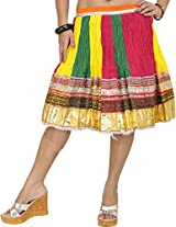 Exotic India Mini-Skirt Ghagra from Jaipur with Gota Border - Color Tri ColorGarment Size Free Size