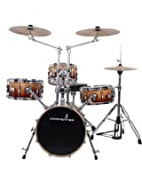 Carpenter 4 pcs Drum Kit with Cymbal, Hi-Hat & Seat, Brown