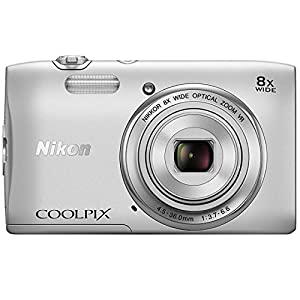 Nikon Coolpix S3600 20.1 MP Point and Shoot Camera (Silver) with 8x Optical Zoom, Memory Card and Camera Case