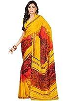 Suchi Fashion Yellow and Red Art Silk Printed Saree.