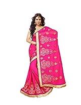 Bollywood Pink Wedding Wear Chiffon Saree-Zari Border With Embroidery Booti Work