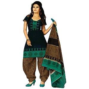Salwar Studio Green & Brown Cotton unstitched churidar kameez with dupatta RTC-5105