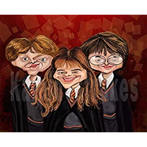 Kaleidostrokes Caricature - Harry Ron and Hermione