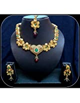 Diva Kundan Red Green Heart Indian Bollywood Gold Tone Necklace Earrings Tika Set For Women