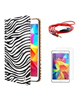 VG Zebra Print Mary Portfolio Multi Purpose Book Style Slim Flip Cover Case for Samsung Galaxy Tab4 T330/T331 8.0 (White) + AUX Cable + Matte Screen