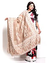 Camel Brown Keri Motifs Soft Pashmina embroidered shawl