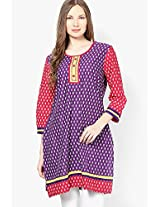 Purple Printed Kurta Dhwani