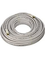 100ft RG6 (18AWG) 75Ohm_ Quad Shield_ CL2 Coaxial Cable with F Type Connector - White