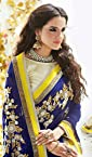 Heavy Embroidery Work Navy Blue & Yellow Georgette Viscose With Sleeves & Raw Silk Blouse Half and Half Saree