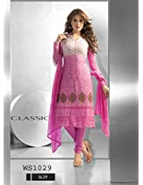 WhtshopWhite And Pink Chiffon Designer Embroidered Straight Suit
