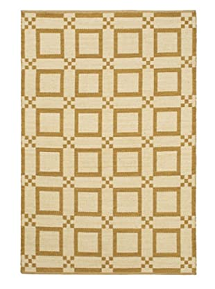 Handwoven Natural Plush Modern Wool Kilim, Cream/Dark Gold, 5' 1