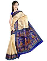 Somya Women's Bhagalpuri Silk Printed Blue Saree