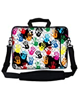 Meffort Inc 15 15.6 inch Neoprene Laptop Bag Sleeve with Extra Side Pocket Soft Carrying Handle & Removable Shoulder Strap for 14 to 15.6 Size Notebook Computer - Hands Painting Design