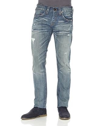 True Religion Pantalón Rotos Efecto Usado (Azul Desgastado)