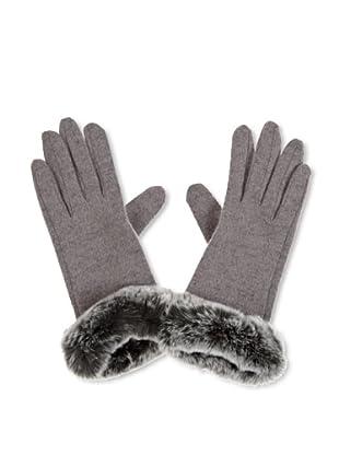 Maya Handschuh mit Echtfellborte (Grau)