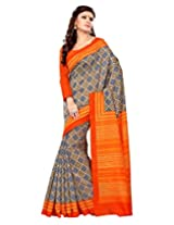 Sangam Saree Womens Orange Bhagalpuri Print Saree