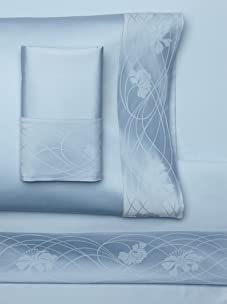 Frette Taormina Fiore Bordo Fitted Bedset (Blue)