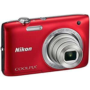 Nikon Coolpix S2800 20.1 MP Point and Shoot Camera (Red) with 5x Optical Zoom, Memory Card and Camera Case