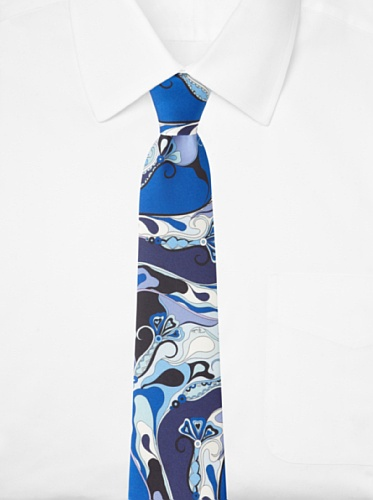 Emilio Pucci Men's Swirl Tie, Blue/Light Blue