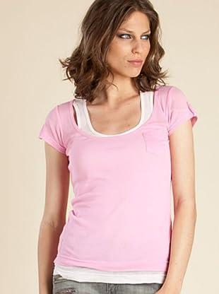 Ikks Camiseta Doble (blanco / rosa)