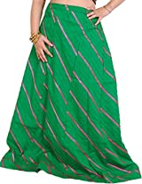 Exotic India Long Ghagra Anchor Skirt with Stitched Ribbons - Color Jelly BeanGarment Size Free Size