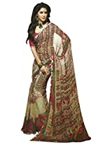 Faux Georgette Saree in Beige Colour for Casual Wear Wear