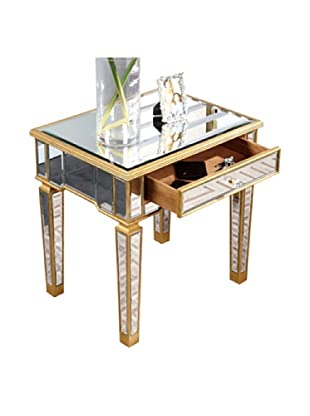 Florentine Lamp Table, Gold Leaf/Clear Mirror