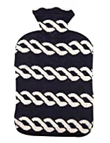 Pluchi Nautical Chains Navy & Natural Knitted Hot Water Bottle Cover