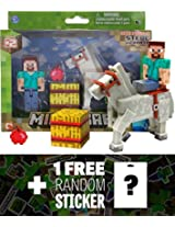 "Overworld Steve (~2.75"") & Horse (~3.25""): Minecraft Mini Fully Articulated Action Figure Series #2"
